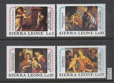 XG-AI081 SIERRA LEONE IND - Paintings, 1987 Christmas, Titian, 4 Values MNH Set