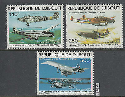 XG-AI523 DJIBOUTI - Aviation, 1979 Airplanes, Concorde, 3 Values MNH Set