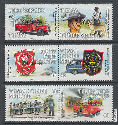 XG-AI483 TONGA IND - Fire Fighters, 1993 3 Pairs, Specimen Overprinted MNH Set