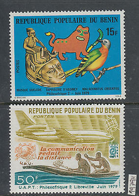 XG-AI563 BENIN - Philexafrique, 1979 Upu, Aviation, Birds, 2 Values MNH Set
