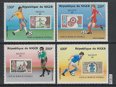 XG-AJ455 NIGER IND - Football, 1986 Stamp On Stamp, Mexico World Cup MNH Set