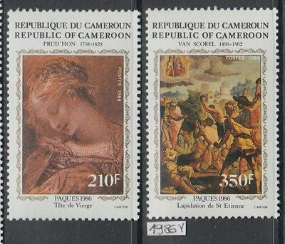 XG-AJ339 CAMEROON IND - Paintings, 1986 Easter, 2 Values MNH Set