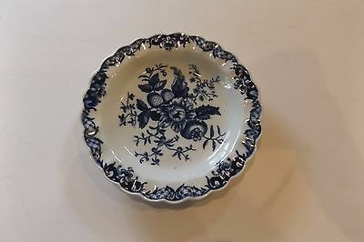 18th C. Worcester Dr. Wall Period Crescent Mark Pine Cone Blue & White Dish