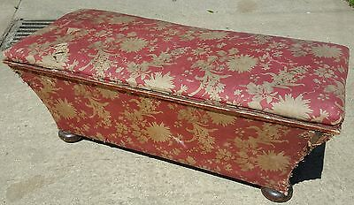 19thC concave ottoman in original fabric