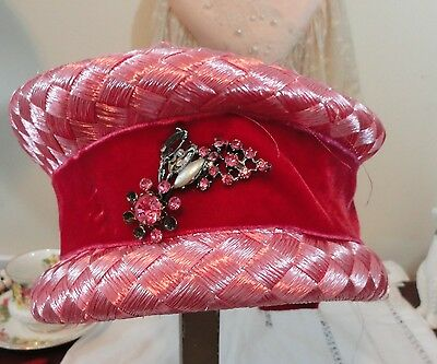 Two vintage ladies hats Woven pink velvet bow & bow know pillbox