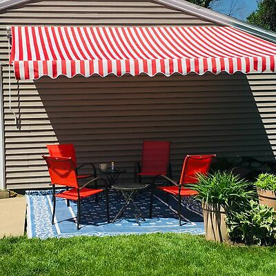 ALEKO Retractable Patio Awning 12 X 10 Ft Deck Sunshade Red White Stripe Color