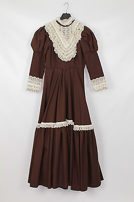 Womens Brown Lace Rich Victorian Lady Theatre Re-enactment Costume  UK 12-14