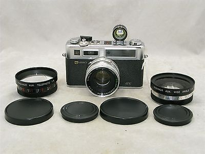 Yashica Electro 35 GS Rangefinder 45mm f1.7 lens With Wide & Tele Aux Lenses