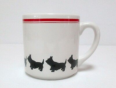 Vintage Scottish Terrier Dog Coffee Tea Cup Scotty Red Bow Puppy Dog Mug