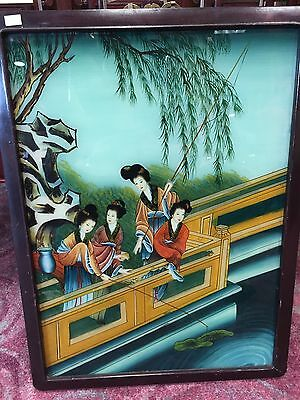 Antique Asian Japanese Chinese Empress Women Reverse Painting on Glass Framed