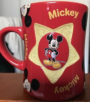 Disney coffee mug Mickey Mouse red and yellow gold star
