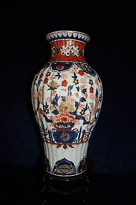 "Beautiful Large Japanese Imari Vase With ""Ribs or Lobes"" 16 1/2"" Tall"