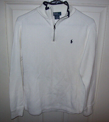 Polo Ralph Lauren White 1/4  Zip Sweater Boys Large 14-16