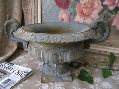 Chippy Shabby FRENCH IRON PLANTER URN JARDINIERE Chic Trianon Blue IN/OUTSIDE