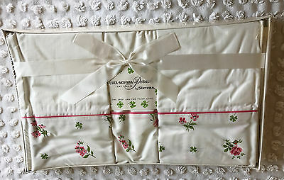Vintage Sheet and 2 Pillowcases NIP Utica Mohawk Percale Stevens Pink Flowers