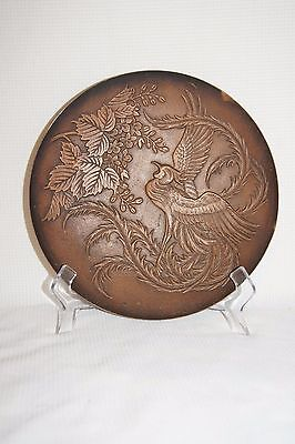 Remarkable Japanese Bronze Phoenix Plate With Maker Mark