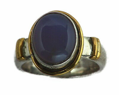 Chalcedony Sterling Silver, 14 kt Yellow Gold Lady,s Ring RFK156