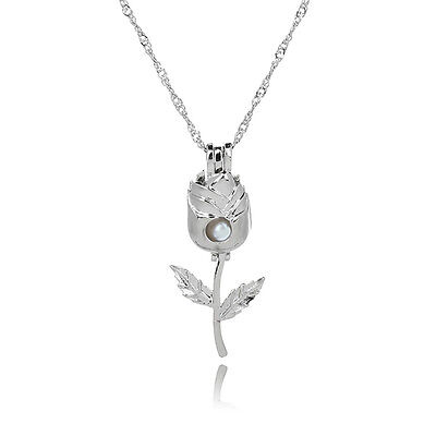 Pearl Beautiful Silver Plated Necklace Hollow Pearl Pendant Rose Flower Shaped