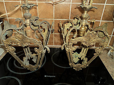 A PAIR  OF FRENCH Ormolu Art Nouveau lanterns / ceiling lights for restoration