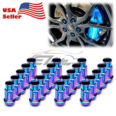 Neo Chrome 20 PCS M12X1.25 Lug Nuts Short Tuner Aluminum Wheels Rims Cap WN01