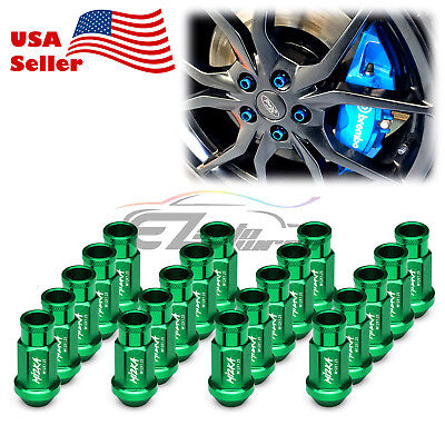 Green 20 PCS M12X1.25 Screw Lug Nuts Short Tuner Aluminum Wheels Rims Cap WN01