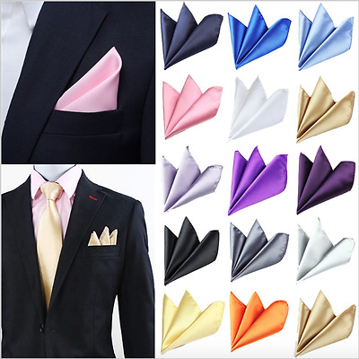 Mens Formal Pocket Square Colour Suit Tuxedo Handkerchief Wedding Prom [NEW]
