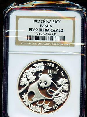 1992 China S10Y Panda Ngc Pf 69 Ultra Cameo Please Lqqk!