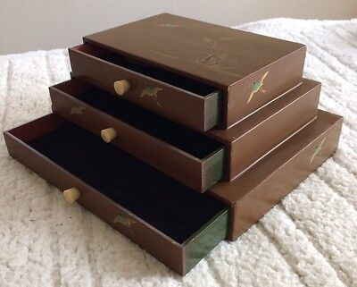 Japanese Jewelry Box Pyramid Tiered AMAZING Painted Birds Lacquered Wood Vintage