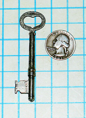 Real Vtg Antique old Heart Shaped Bow Barrel Skeleton Key Steampunk Corbin Lock