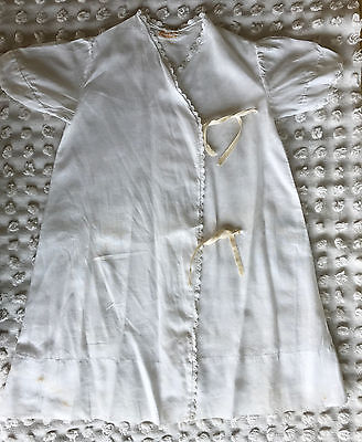 Vintage Baby Gown White Ties in Front Hand Finished Size 0