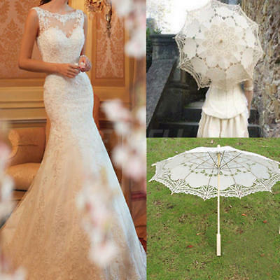 Lace Cotton Parasol Bridal Wedding Classic Decoration Lady Umbrella Handmade