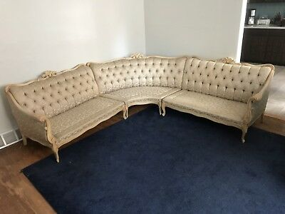 French Victorian / Provincial White Bone Sectional Sofa