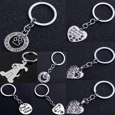 Dog Paws Batman Keyring Heart Charms Pendants Keychain Pet Animal Gifts Jewelry