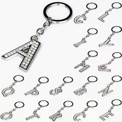 Shiny Crystal Alphabet Keyring A-Z Initials Letter Key Ring Silver Key Chain