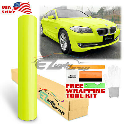 *Gloss Fluorescent Yellow Car Vinyl Wrap Sticker Decal Bubble Free Film Neon DIY