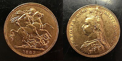 1887 Melbourne Jubilee Variety Gold Victoria Sovereign--Lustrous Old--A Bu Grade