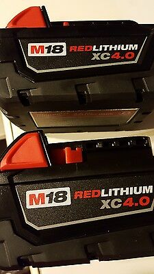 Genuine Milwaukee M18 XC 4.0 AH 18V Red Lithium Battery Lot of 2 48-11-1840  NEW