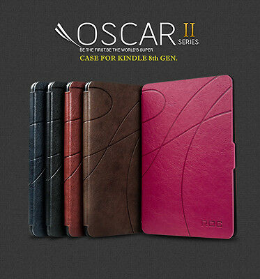 ROC® Smart Leather Case Cover with Light for Amazon Kindle 8th generation 2016