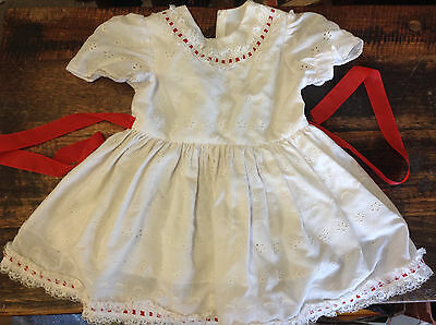 BRT Vintage Baby or Dolls Dress Red White Emroidered Patterned Cotton  Lace Trim