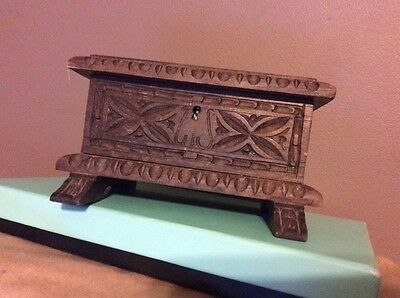 Vintage Hand Carved Wood Trinket Legged Box
