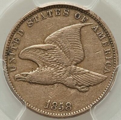 1858  Small  Letters  Flying  Eagle Cent  Pcgs Xf40