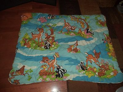 Vintage 1970's Disney Bambi Bed Cover Nursery Coverlet Quilted Baby Blanket