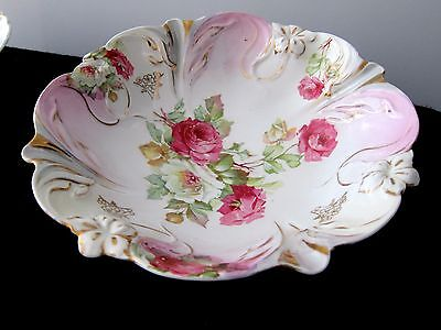 Vintage P S Germany Vegetable Serving Bowl Hand Painted Roses