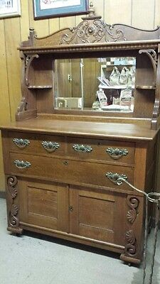 Antique Oak Sideboard with mirror 1890-1900 Buffet Dresser Good Condition!