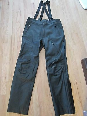Harley Davidson FXRG Leather Pants with suspenders and Armour Sz 38 98524-05VM