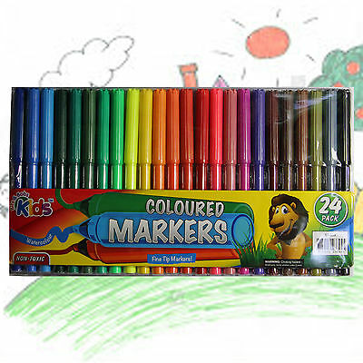 Bits and Bobs Kids 24pk Coloured Markers Fine Tip Markers Watercolour Non Toxic