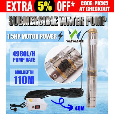 WACWAGNER 1.5HP Submersible Bore Water Pump Deep Well Stainless Steel Irrigation