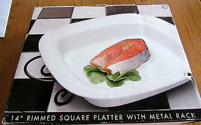 "SALE 14"" Rimmed Square Platter Stoneware White With Metal Rack NEW in Box"