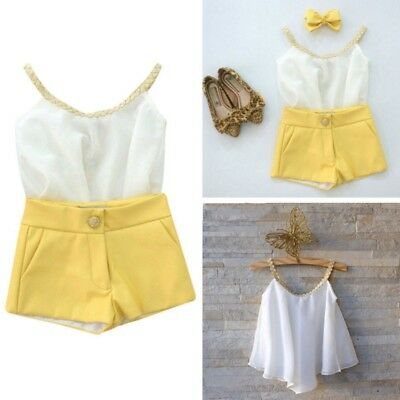 Summer Toddler Kids Baby Girl Summer Outfits Clothes Chiffon Shirt Top Pants Set