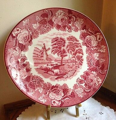 """Vintage Enoch Wood & Sons """"English Scenery"""" Snack Plate Pink Red England"""
